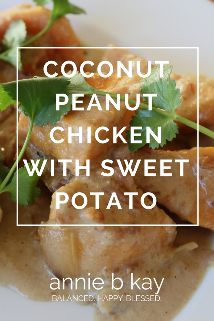 Coconut Peanut Chicken with Sweet Potato by Annie B Kay - anniebkay.com